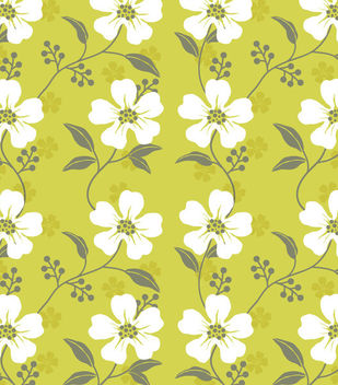 Seamless Wildflower Pattern with White Leaves - Free vector #167079