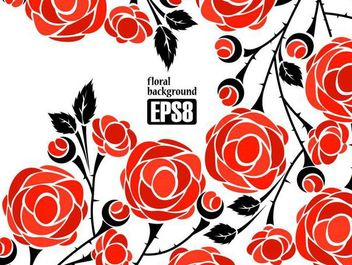 Simplistic Flower Background with Red Roses - vector gratuit #167199