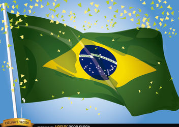 Brasil 2014 Flag Waving Celebration - vector gratuit #167479