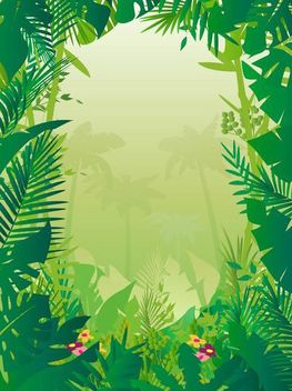 Tropical Frame Styled Jungle Background - vector #167489 gratis