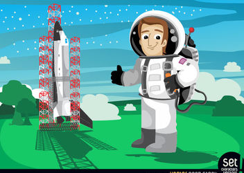 astronaut beside space shuttle launch - Free vector #167529