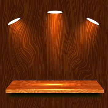 Realistic Wooden Shelf with Lights - vector gratuit #167549