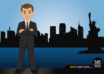 Businessman Standing on the New York Skyline - vector gratuit #167579