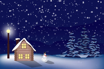 Snowy Christmas Landscape - Free vector #167589