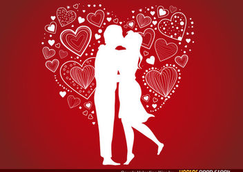 Couple Valentine's Kiss - Free vector #167699