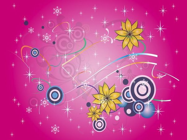 Colorful Snowy Floral & Starry Background - Free vector #167799