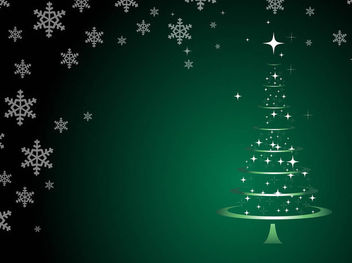 Abstract Christmas Tree and Snowflakes - Free vector #167949