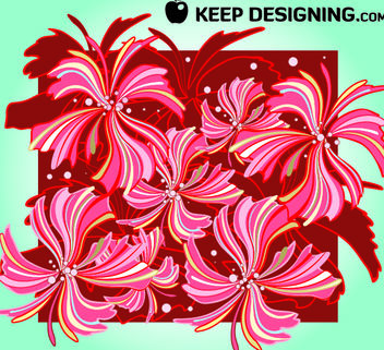 Red & Brown Whispy Floral Pattern - vector gratuit #167979
