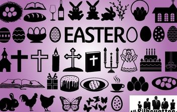 Easter Symbol Pack Silhouette - Free vector #168019