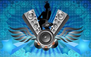 Musical Layout with DJ Girl - Free vector #168029