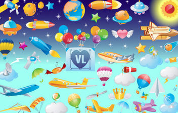 Vector Icons of Flying Objects - бесплатный vector #168699
