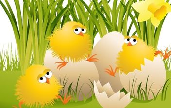 Easter Chickens - Free vector #169039