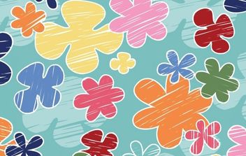 Children's crayon flower vector pattern- Free - vector gratuit #169759