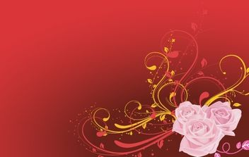 Rose Vector with red background - Free vector #170159
