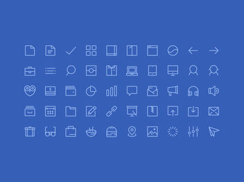 Line Art 50 Glyph Icons - Free vector #170259