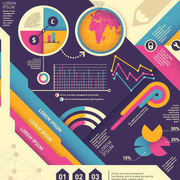 Colorful Vintage Abstract Infographic - Free vector #170299