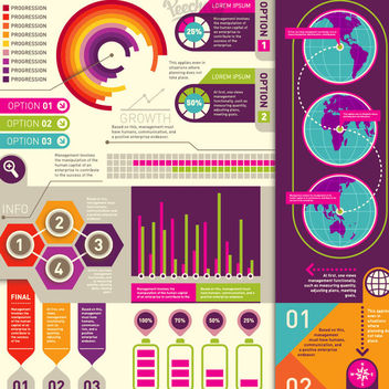 Colorful Retro Flat Infographic Set - vector #170309 gratis