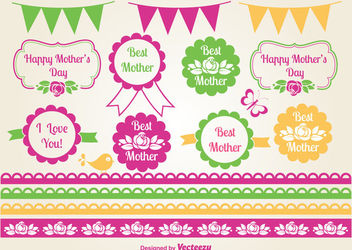 Colorful Mother's Day Labels Pack - vector gratuit #170319