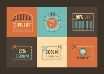 Retro Style Discount Coupon Pack - vector gratuit #170349