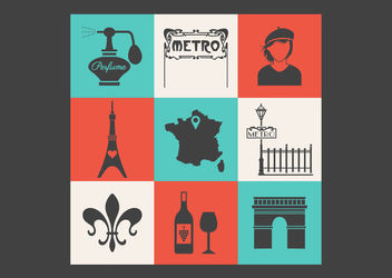 Conceptual Vintage Paris Icon Pack - vector gratuit #170379