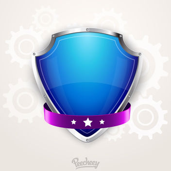 3D Blue Crest & Purple Ribbon - vector gratuit #170409