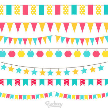 Minimal Colorful Celebration Decoration Pack - Free vector #170419