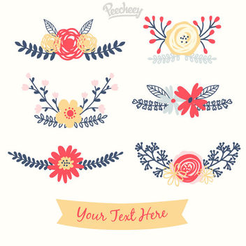 Vintage Abstract Flower Decoration Set - vector gratuit #170429
