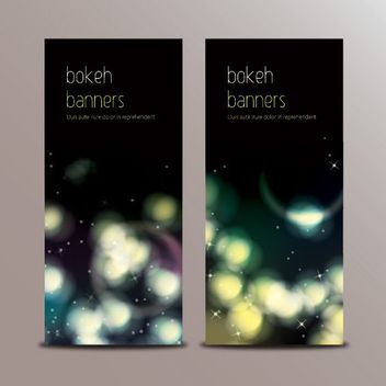 Dark Colorful Bokeh Banners - vector gratuit #170519