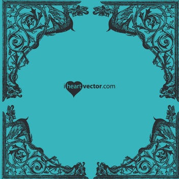 Decorative Antique Dragon Cornered Frame - vector #170529 gratis
