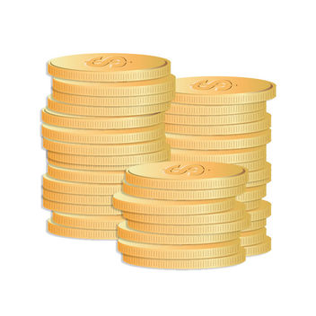 Dollar Sign Gold Coin Stack - Free vector #170579