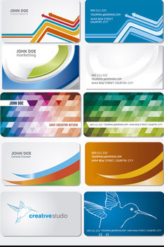 10 Curves polygons birds business cards - Free vector #170609