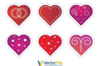 Multicolored Hearts Pack with Different Decorations - vector gratuit #170659