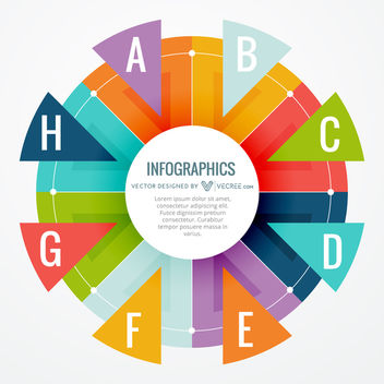 Colorful Triangular Wheel Circular Infographic - Free vector #170689