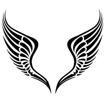 Black & White Tribal Wings - vector gratuit #170769