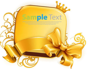 Vintage Glossy Golden Banner with Ribbon - vector #170789 gratis