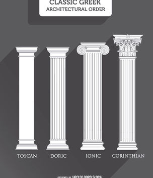 Greek Columns Styles: Toscan, Doric, Ionic and Corinthian - Free vector #171409
