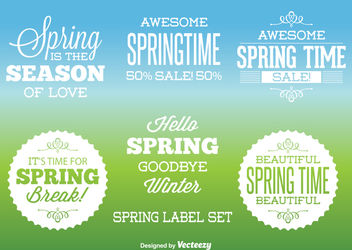 Typographic Spring Label Set - vector #171419 gratis