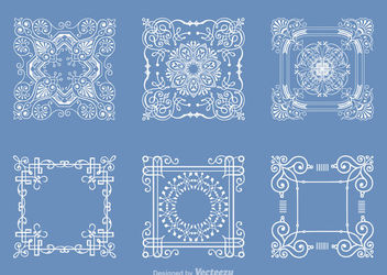 Decorative Outlined Square Doily Set - vector #171459 gratis