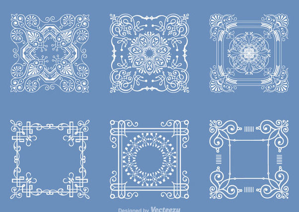 Decorative Outlined Square Doily Set - Free vector #171459