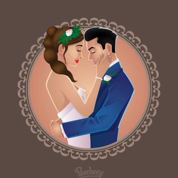 Happy Wedding Couple Circle Frame - vector gratuit #171479