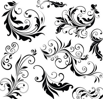 Simple Floral Ornament Set - Free vector #171489