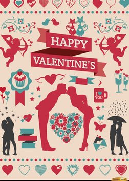 Valentine's Celebration elements set - Free vector #171509