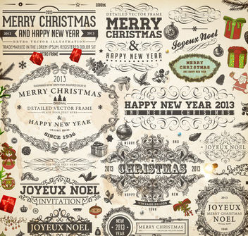 Vintage Decorative Calligraphic Christmas Ornament Set - Free vector #171589
