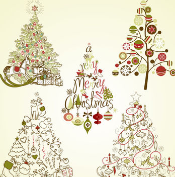 Decorative Vintage Christmas Tree Set - vector gratuit #171599