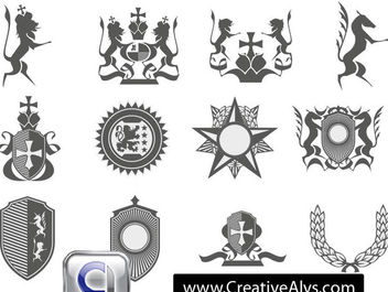 Heraldic Logo Element Pack - Free vector #171719
