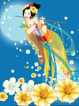Floristic Lady with Flute - Free vector #171739