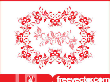 Decorative Wreath with Blooming Flowers - vector gratuit #171759