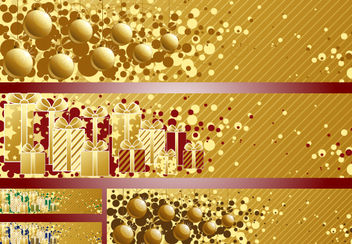 3 Golden Striped Christmas Banners - vector gratuit #171819