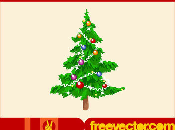 Decorative Multicolored Bauble Christmas Tree - Free vector #171839