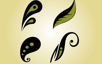 Whimsical Flourish Leaf Vector - Free vector #172099